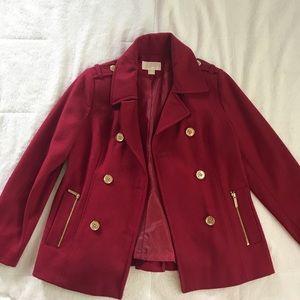 Michael kors red pea coat